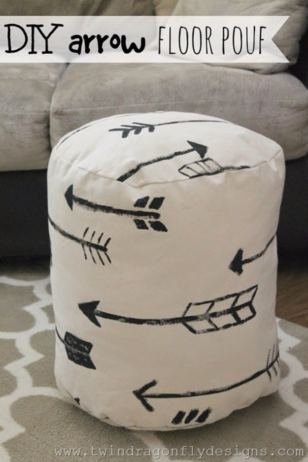 Fabulous DIY Poufs and Ottomans - DIY Arrow Floor Pouf - Step by Step Tutorials and Easy Patterns for Cool Home Decor. Crochet, No Sew, Leather, Moroccan Boho, Knit and Fun Fur Projects and Chair Ideas http://diyjoy.com/diy-floor-poufs