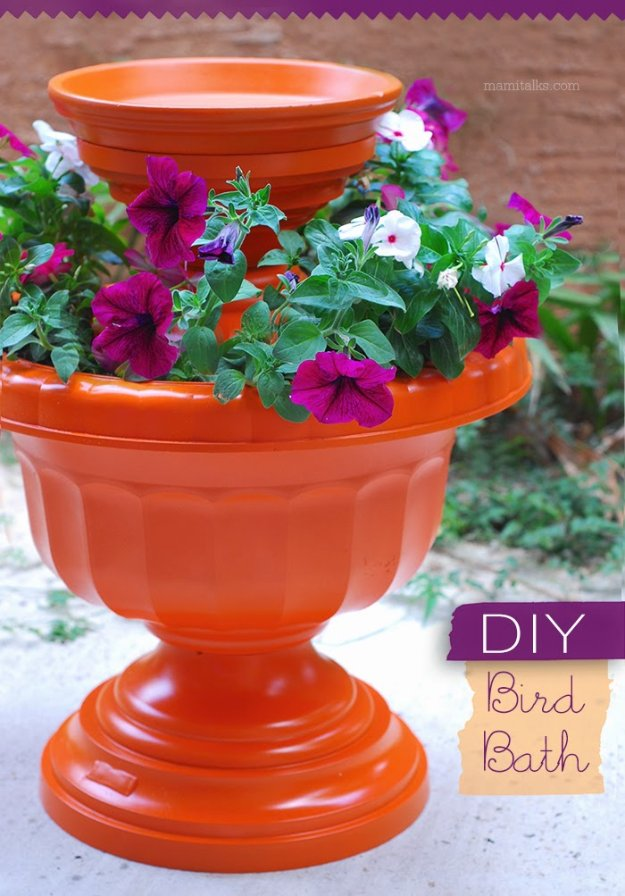 DIY Ideas for Your Garden - DIY Bird Bath - Cool Projects for Spring and Summer Gardening - Planters, Rocks, Markers and Handmade Decor for Outdoor Gardens