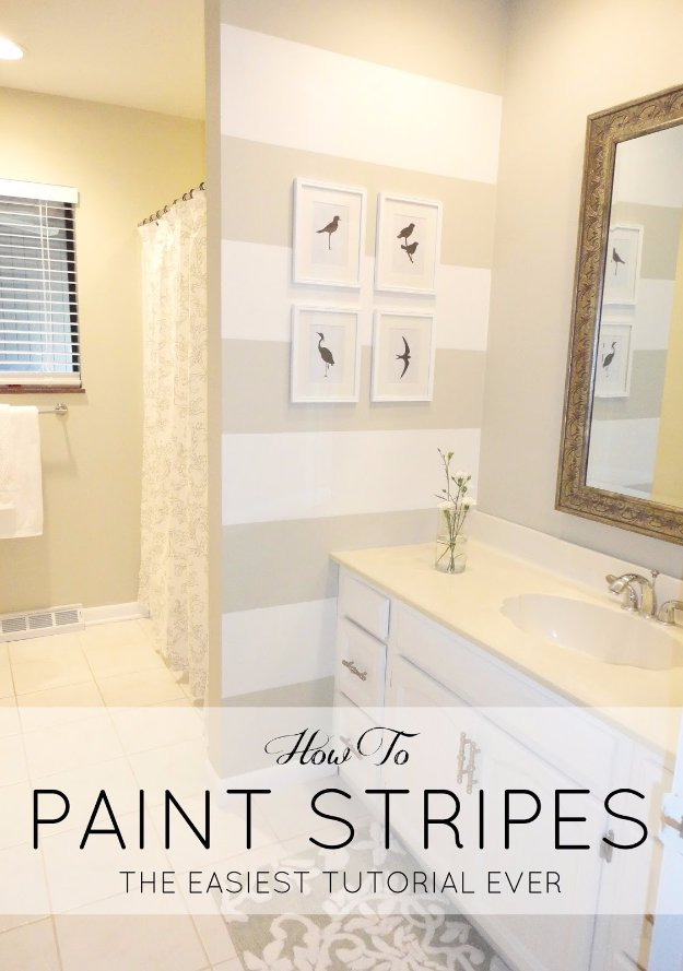Home Improvement Hacks. - DIY Paint Stripes - Remodeling Ideas and DIY Home Improvement Made Easy With the Clever, Easy Renovation Ideas. Kitchen, Bathroom, Garage. Walls, Floors, Baseboards,Tile, Ceilings, Wood and Trim. http://diyjoy.com/home-improvement-hacks