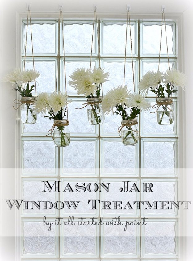 Mason Jar Ideas for Summer - Mason Jar Window Treatment - Mason Jar Crafts, Decor and Gifts, Centerpieces and DIY Projects With Jars That Are Perfect For Summertime - Fun and Easy Lights, Cool Vases, Creative 4th of July Ideas