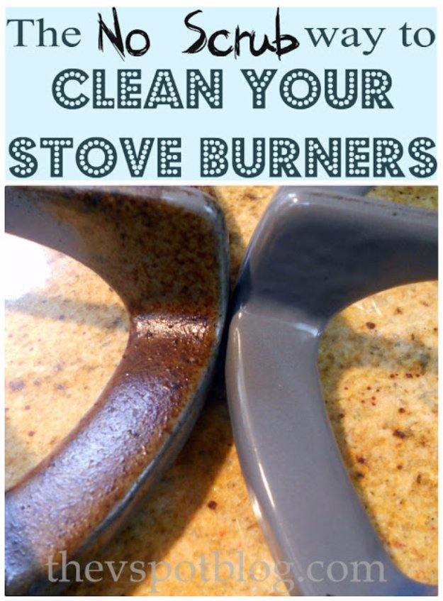 Cleaning Tips and Hacks To Keep Your Home Sparkling. No Scrub Way to Clean Your Stove Burners - Clever Ways to Make DYI Cleaning Easy. Bedroom, Bathroom, Kitchen, Garage, Floors, Countertops, Tub and Shower, Til, Laundry and Clothes http://diyjoy.com/best-cleaning-tips-hacks