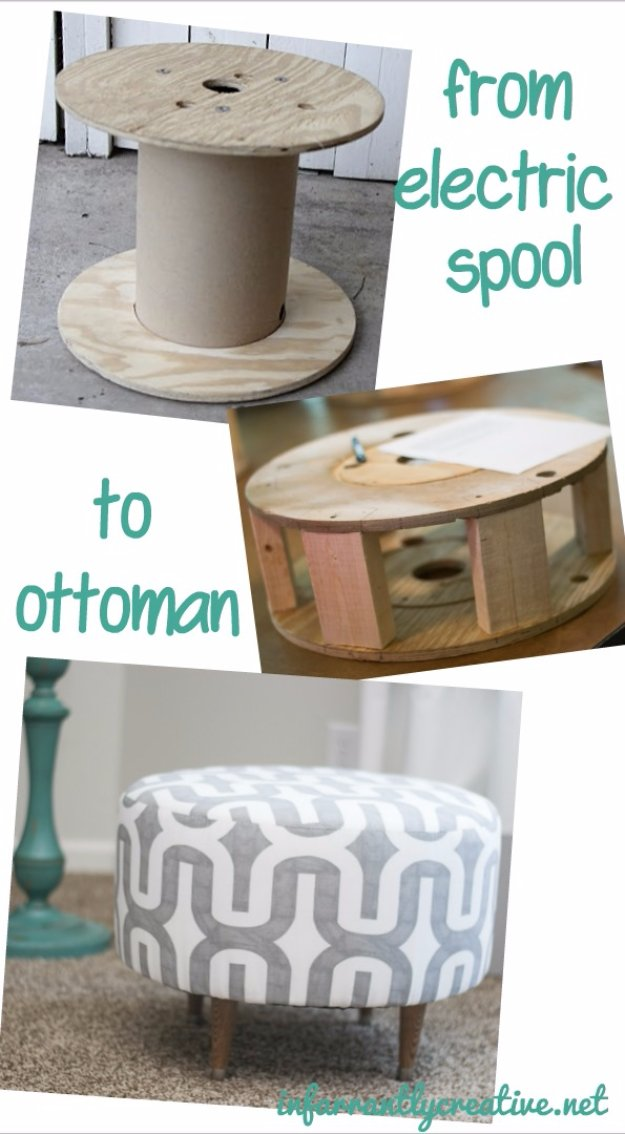 Fabulous DIY Poufs and Ottomans - Ottoman Made From Electric Spool - Step by Step Tutorials and Easy Patterns for Cool Home Decor. Crochet, No Sew, Leather, Moroccan Boho, Knit and Fun Fur Projects and Chair Ideas #diy #diyfurniture #sewing