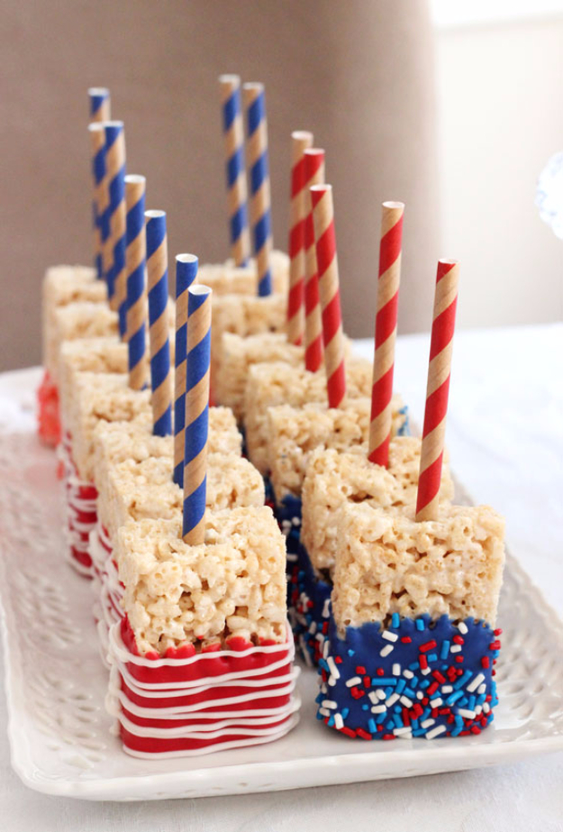 Best Fourth of July Food and Drink Ideas - Blue And Red Rice Krispies - BBQ on the 4th with these Desserts, Recipes and Ideas for Healthy Appetizers, Party Trays, Easy Meals for a Crowd and Fun Drink Ideas http://diyjoy.com/diy-fourth-of-july-party-ideas