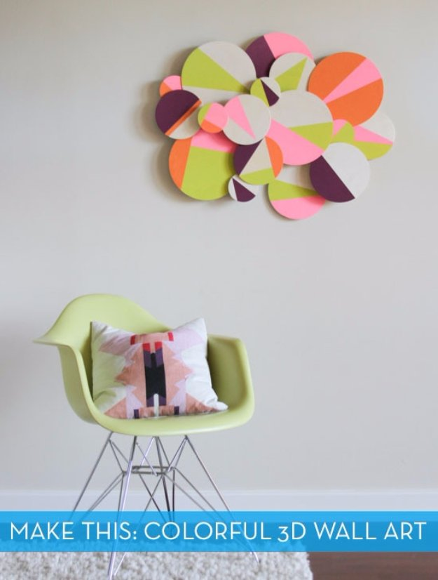 DIY Living Room Decor Ideas - DIY Colorful 3D Geometric Wall Art - Cool Modern, Rustic and Creative Home Decor - Coffee Tables, Wall Art, Rugs, Pillows and Chairs. Step by Step Tutorials and Instructions http://diyjoy.com/diy-living-room-decor-ideas