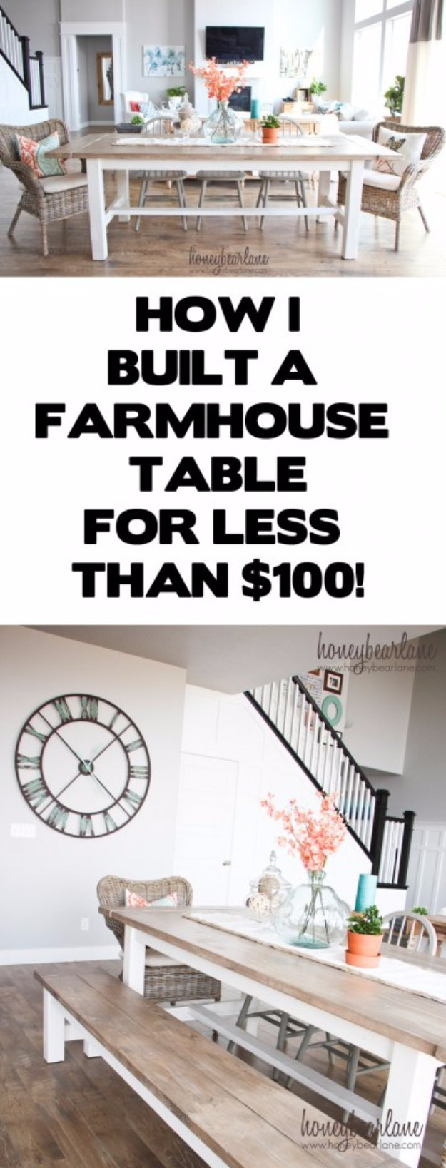 DIY Dining Room Decor Ideas - DIY Farmhouse Table and Bench - Cool DIY Projects for Table, Chairs, Decorations, Wall Art, Bench Plans, Storage, Buffet, Hutch and Lighting Tutorials http://diyjoy.com/diy-dining-room-decor-ideas