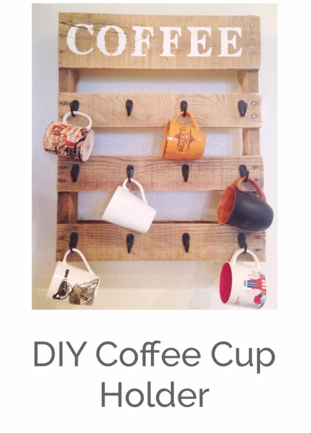 DIY Kitchen Decor Ideas - DIY Pallet Coffee Cup Rack - Creative Furniture Projects, Accessories, Countertop Ideas, Wall Art, Storage, Utensils, Towels and Rustic Furnishings http://diyjoy.com/diy-kitchen-decor-ideas