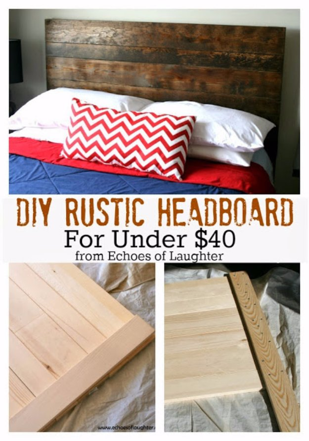 DIY Headboard Ideas - DIY Rustic Headboard - Easy and Cheap Do It Yourself Headboards - Upholstered, Wooden, Fabric Tufted, Rustic Pallet, Projects With Lights, Storage and More Step by Step Tutorials http://diyjoy.com/diy-headboards