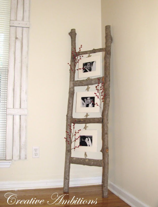 DIY Living Room Decor Ideas - DIY Rustic Photo Ladder - Cool Modern, Rustic and Creative Home Decor - Coffee Tables, Wall Art, Rugs, Pillows and Chairs. Step by Step Tutorials and Instructions http://diyjoy.com/diy-living-room-decor-ideas