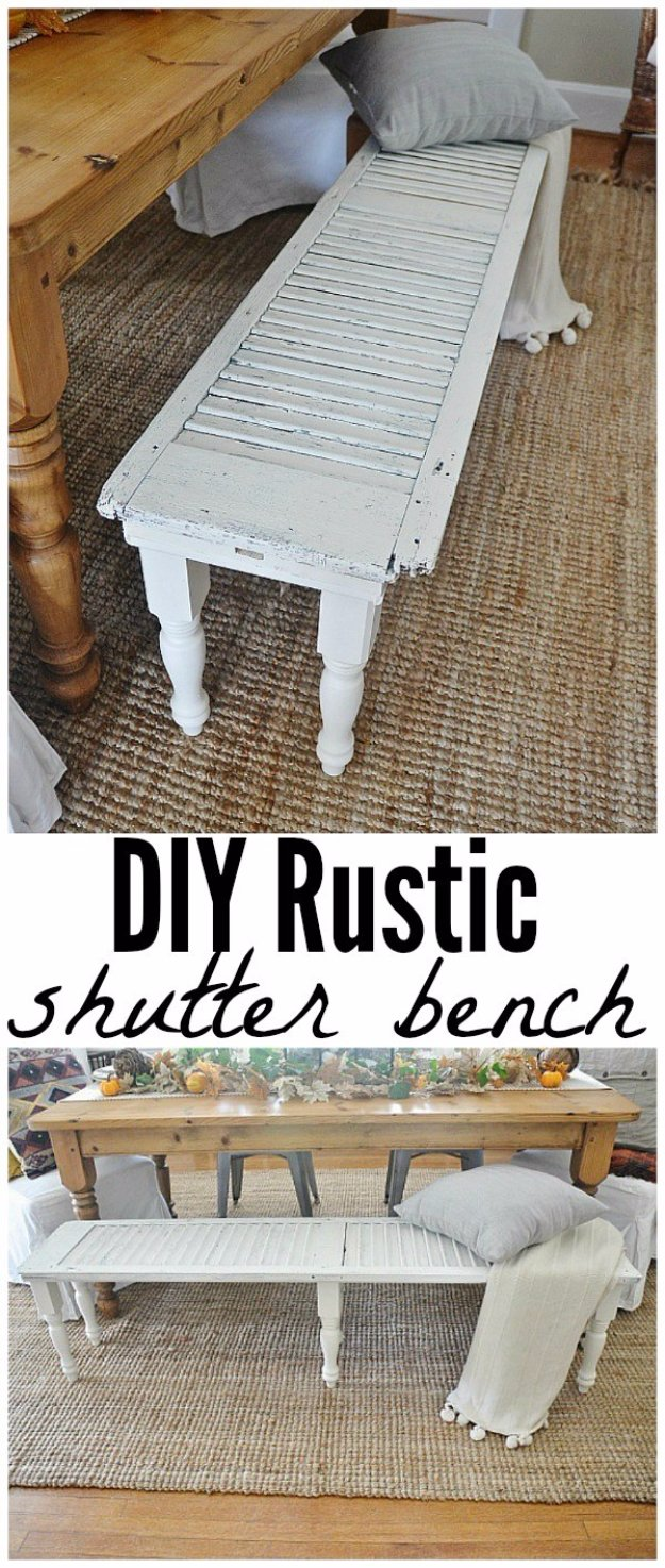 DIY Living Room Decor Ideas - DIY Rustic Shutter Bench - Cool Modern, Rustic and Creative Home Decor - Coffee Tables, Wall Art, Rugs, Pillows and Chairs. Step by Step Tutorials and Instructions http://diyjoy.com/diy-living-room-decor-ideas