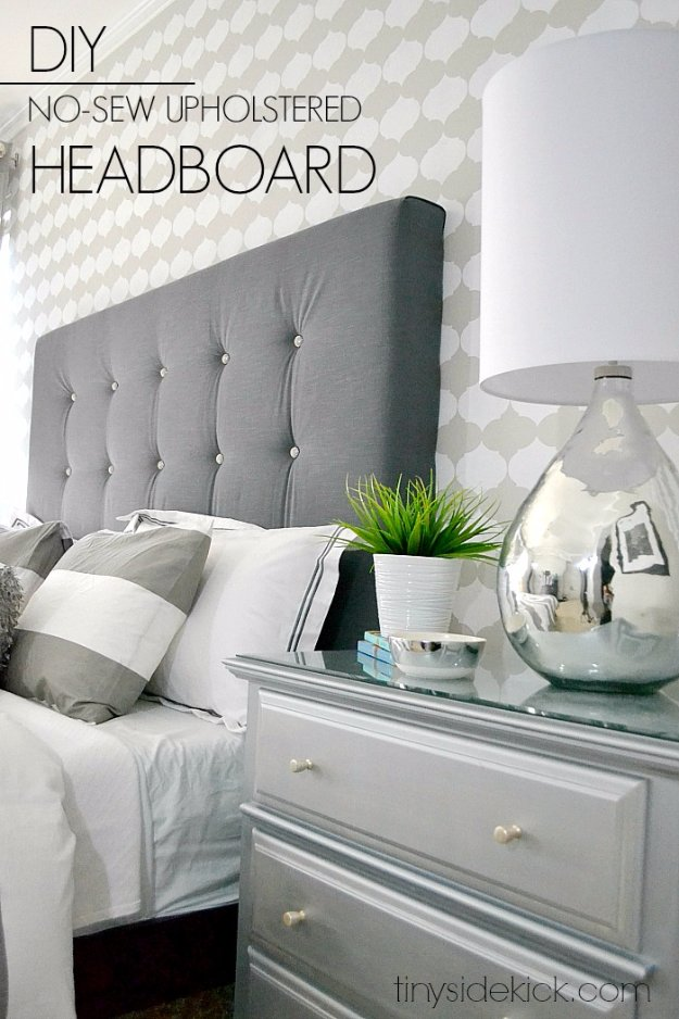 DIY Headboard Ideas - DIY Upholstered Headboard With A High End Look - Easy and Cheap Do It Yourself Headboards - Upholstered, Wooden, Fabric Tufted, Rustic Pallet, Projects With Lights, Storage and More Step by Step Tutorials http://diyjoy.com/diy-headboards