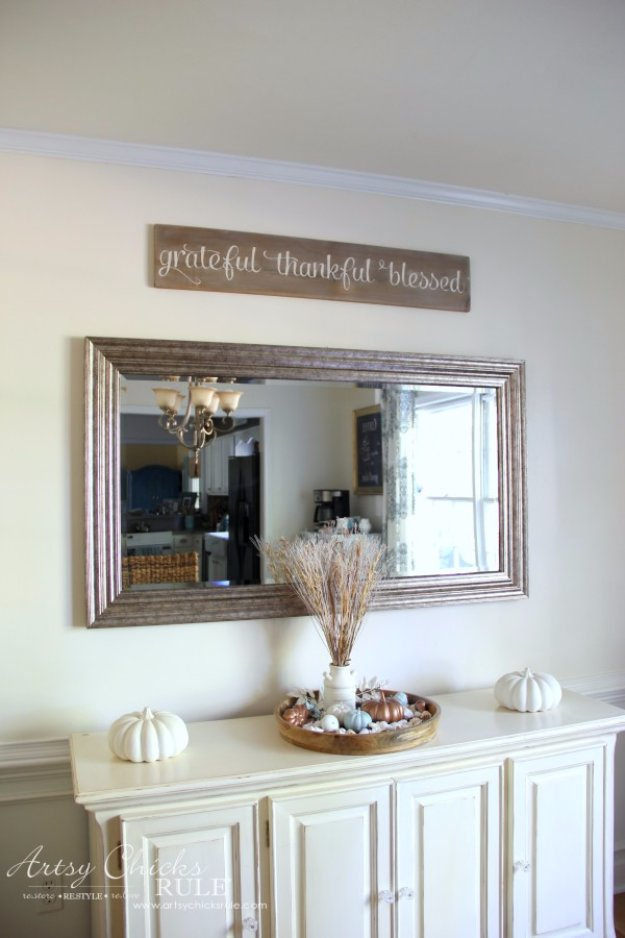 DIY Dining Room Decor Ideas - DIY Weathered Gratitude Sign - Cool DIY Projects for Table, Chairs, Decorations, Wall Art, Bench Plans, Storage, Buffet, Hutch and Lighting Tutorials http://diyjoy.com/diy-dining-room-decor-ideas