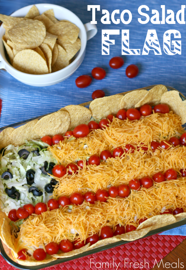 Best Fourth of July Food and Drink Ideas - Easy Taco Salad Flag - BBQ on the 4th with these Desserts, Recipes and Ideas for Healthy Appetizers, Party Trays, Easy Meals for a Crowd and Fun Drink Ideas http://diyjoy.com/diy-fourth-of-july-party-ideas