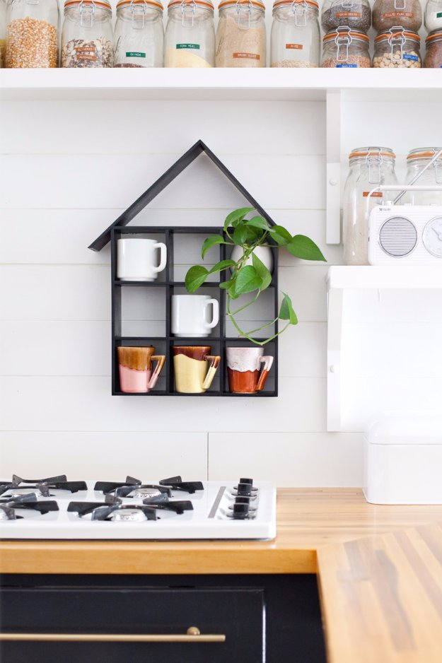 DIY Kitchen Decor Ideas - House Shaped Shelf DIY - Creative Furniture Projects, Accessories, Countertop Ideas, Wall Art, Storage, Utensils, Towels and Rustic Furnishings http://diyjoy.com/diy-kitchen-decor-ideas