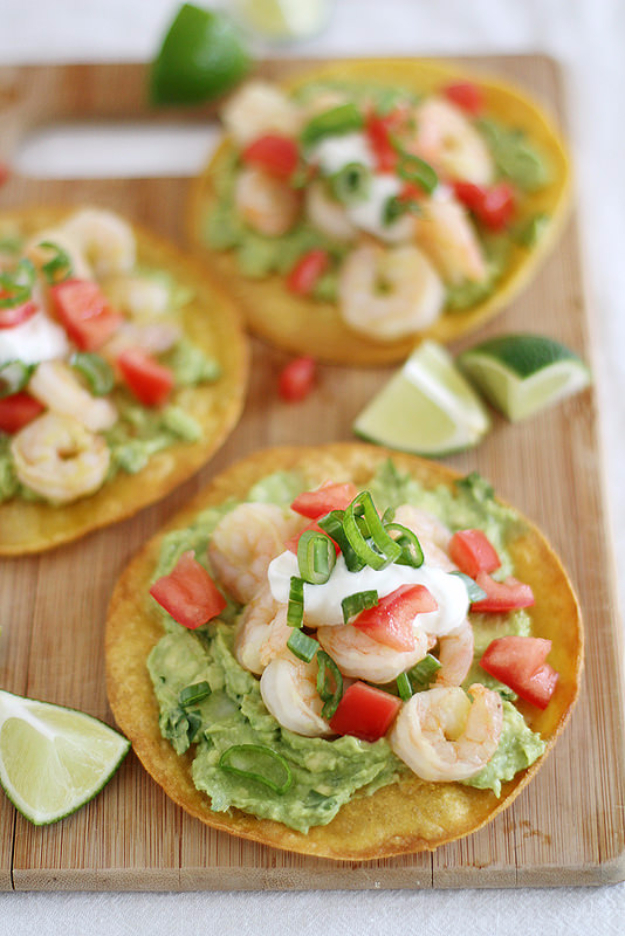 Best Fourth of July Food and Drink Ideas - Shrimp Avocado Tostadas - BBQ on the 4th with these Desserts, Recipes and Ideas for Healthy Appetizers, Party Trays, Easy Meals for a Crowd and Fun Drink Ideas http://diyjoy.com/diy-fourth-of-july-party-ideas