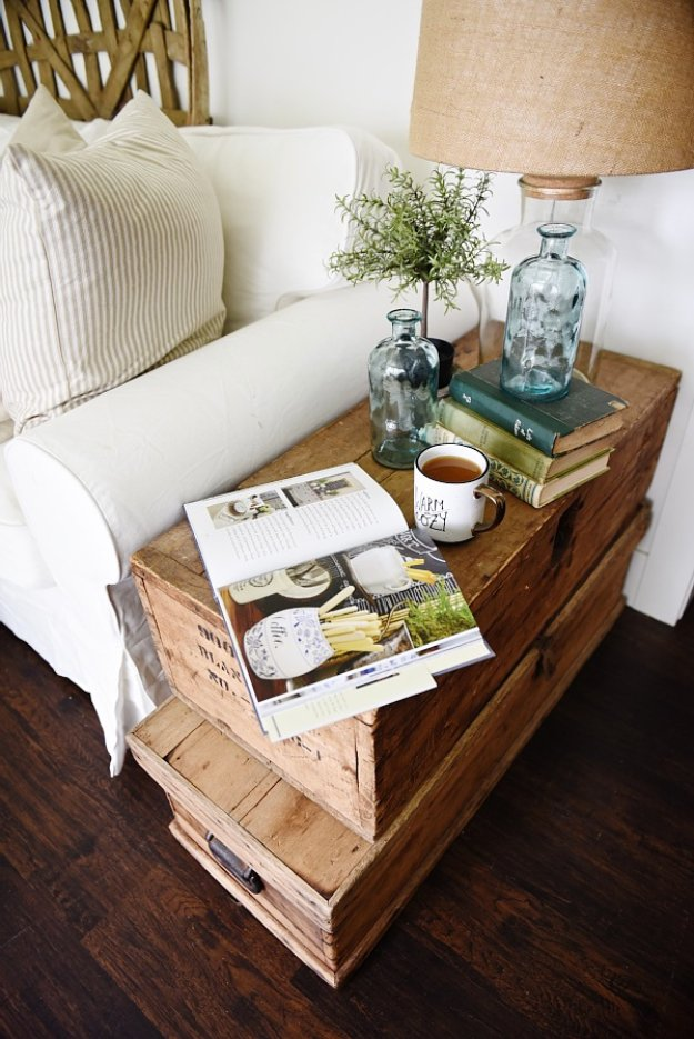 DIY End Tables with Step by Step Tutorials - Stacked Trunk End Table - Cheap and Easy End Table Projects and Plans - Wood, Storage, Pallet, Crate, Modern and Rustic. Bedroom and Living Room Decor Ideas http://diyjoy.com/diy-end-tables