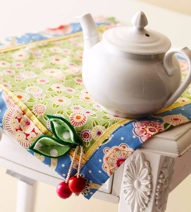 Sewing Crafts To Make and Sell - Cherry Table Mat - Easy DIY Sewing Ideas To Make and Sell for Your Craft Business. Make Money with these Simple Gift Ideas, Free Patterns, Products from Fabric Scraps, Cute Kids Tutorials http://diyjoy.com/crafts-to-make-and-sell-sewing-ideas