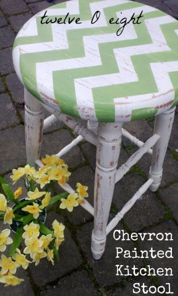 DIY Seating Ideas - Chevron Painted Kitchen Stool - Creative Indoor Furniture, Chairs and Easy Seat Projects for Living Room, Bedroom, Dorm and Kids Room. Cheap Projects for those On A Budget. Tutorials for Cushions, No Sew Covers and Benches http://diyjoy.com/diy-seating-chairs-ideas