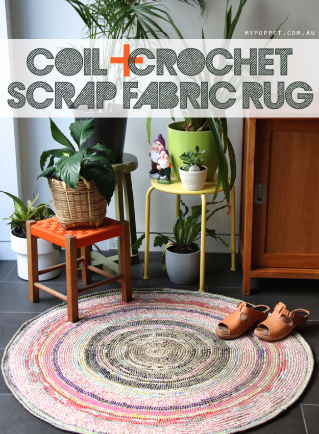 Easy DIY Rugs and Handmade Rug Making Project Ideas - Coil Crochet Scrap Fabric Rug DIY - Simple Home Decor for Your Floors, Fabric, Area, Painting Ideas, Rag Rugs, No Sew, Dropcloth and Braided Rug Tutorials http://diyjoy.com/diy-rugs-ideas