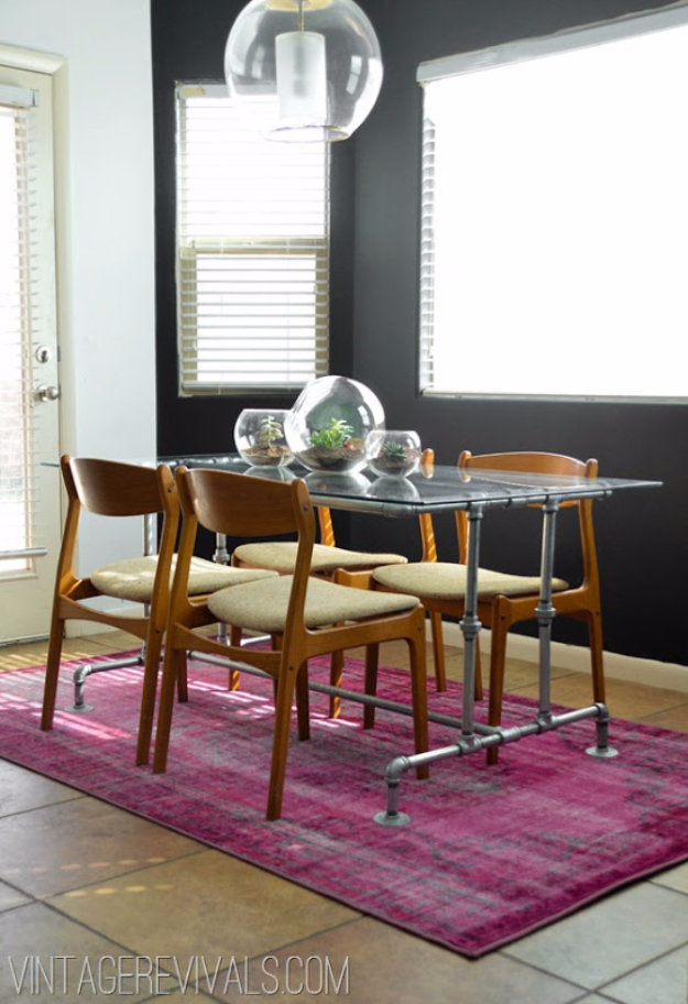 DIY Dining Room Table Projects - Conduit Pipe Table DIY - Creative Do It Yourself Tables and Ideas You Can Make For Your Kitchen or Dining Area. Easy Step by Step Tutorials that Are Perfect For Those On A Budget http://diyjoy.com/diy-dining-room-table-projects