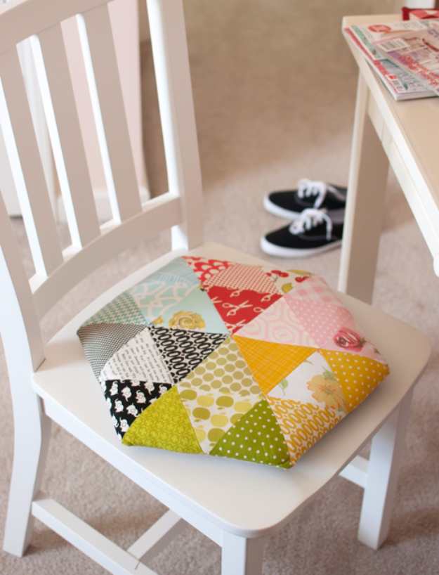 Sewing Crafts To Make and Sell - Cute Triangle Chair Cushion - Easy DIY Sewing Ideas To Make and Sell for Your Craft Business. Make Money with these Simple Gift Ideas, Free Patterns, Products from Fabric Scraps, Cute Kids Tutorials http://diyjoy.com/crafts-to-make-and-sell-sewing-ideas