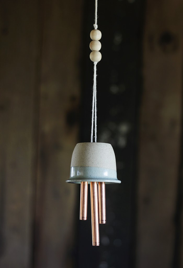DIY Wind Chimes - DIY Ceramic Copper Wind Chimes - Easy, Creative and Cool Windchimes Made from Wooden Beads, Pipes, Rustic Boho and Repurposed Items, Silverware, Seashells and More. Step by Step Tutorials and Instructions http://diyjoy.com/diy-wind-chimes