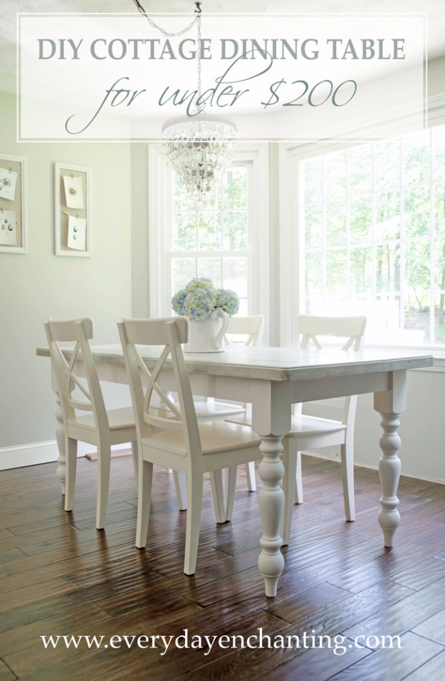 DIY Dining Room Table Projects - DIY Cottage Dining Table Tutorial - Creative Do It Yourself Tables and Ideas You Can Make For Your Kitchen or Dining Area. Easy Step by Step Tutorials that Are Perfect For Those On A Budget http://diyjoy.com/diy-dining-room-table-projects