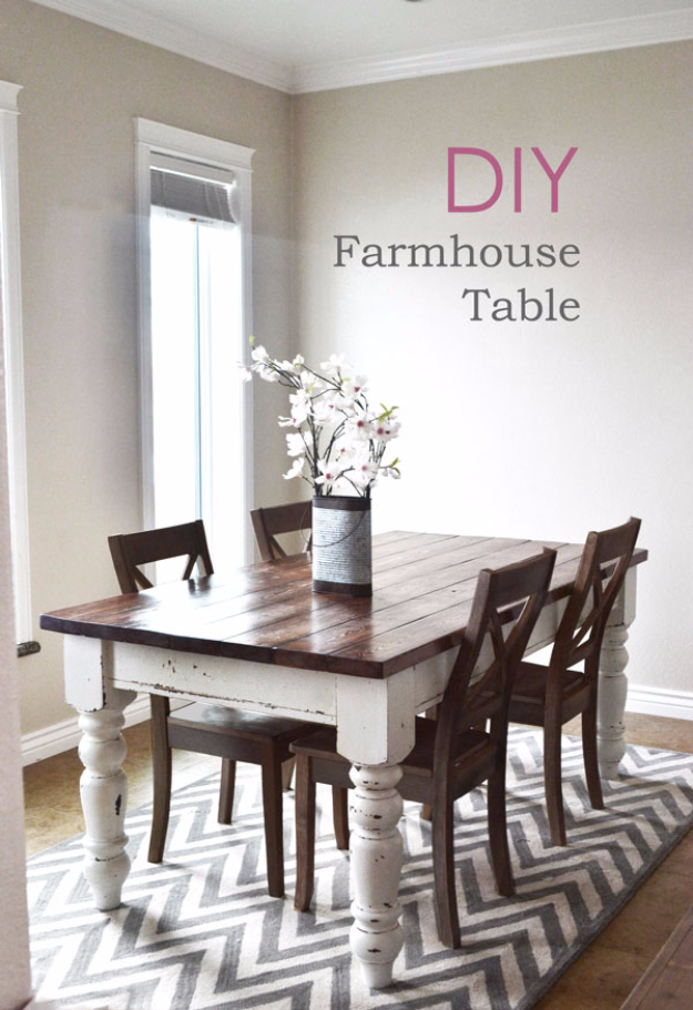 DIY Dining Room Table Projects - DIY Farmhouse Kitchen Table - Creative Do It Yourself Tables and Ideas You Can Make For Your Kitchen or Dining Area. Easy Step by Step Tutorials that Are Perfect For Those On A Budget http://diyjoy.com/diy-dining-room-table-projects