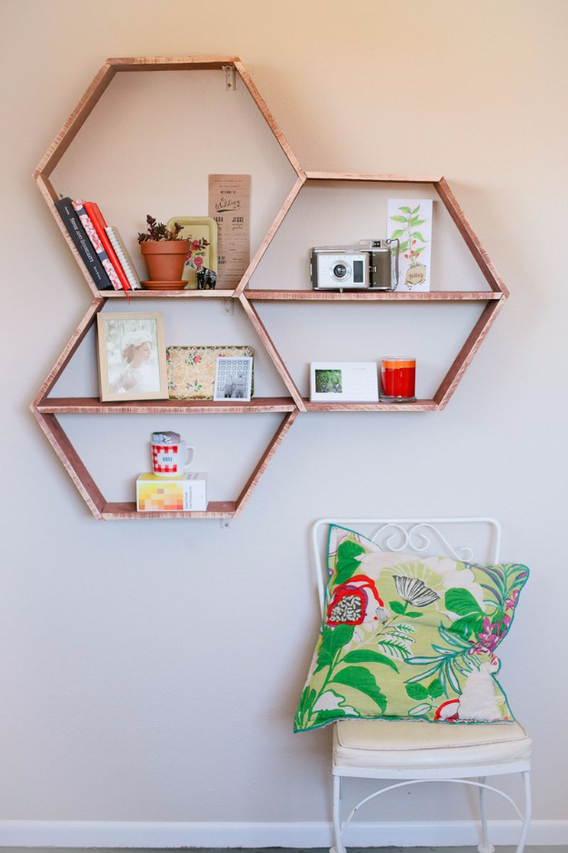 DIY Shelves and Do It Yourself Shelving Ideas - DIY Honeycomb Shelves - Easy Step by Step Shelf Projects for Bedroom, Bathroom, Closet, Wall, Kitchen and Apartment. Floating Units, Rustic Pallet Looks and Simple Storage Plans http://diyjoy.com/diy-shelving-projects