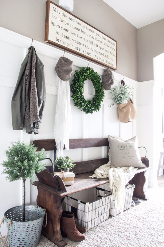 DIY Ideas for Your Entry - DIY Irish Blessing Sign And Entryway - Cool and Creative Home Decor or Entryway and Hall. Modern, Rustic and Classic Decor on a Budget. Impress House Guests and Fall in Love With These DIY Furniture and Wall Art Ideas http://diyjoy.com/diy-home-decor-entry