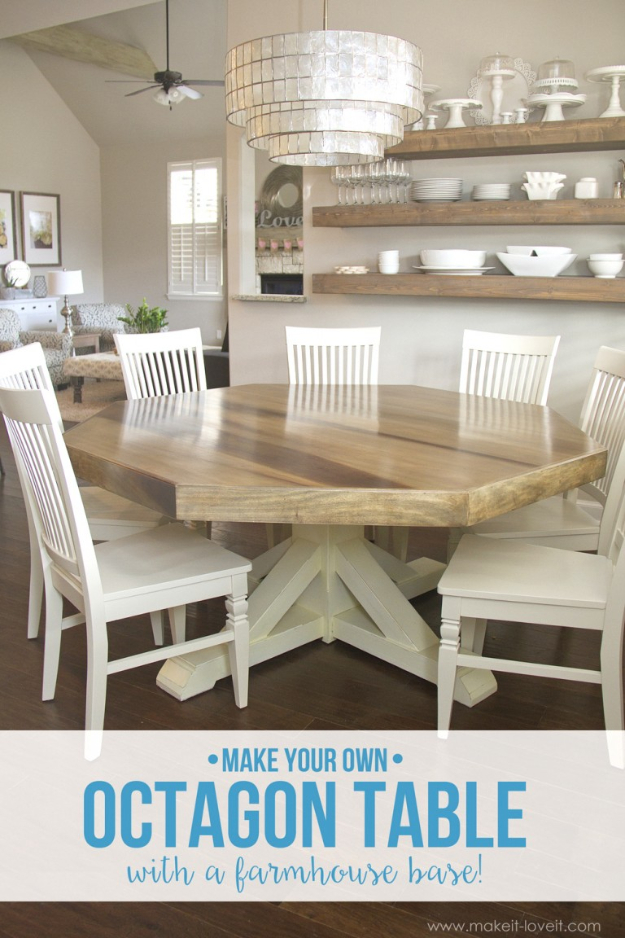 DIY Dining Room Table Projects - DIY Octagon Dining Room Table With Farmhouse Base - Creative Do It Yourself Tables and Ideas You Can Make For Your Kitchen or Dining Area. Easy Step by Step Tutorials that Are Perfect For Those On A Budget http://diyjoy.com/diy-dining-room-table-projects