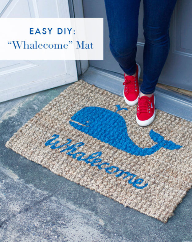 DIY Welcome Mats - DIY Whalecome Mat - Greet Guests in Style with These Easy and Cheap Home Decor Ideas for Your Entry. Doormat Tutorials for Creative Ways to Cover Your Floors and Front Door http://diyjoy.com/diy-welcome-mats