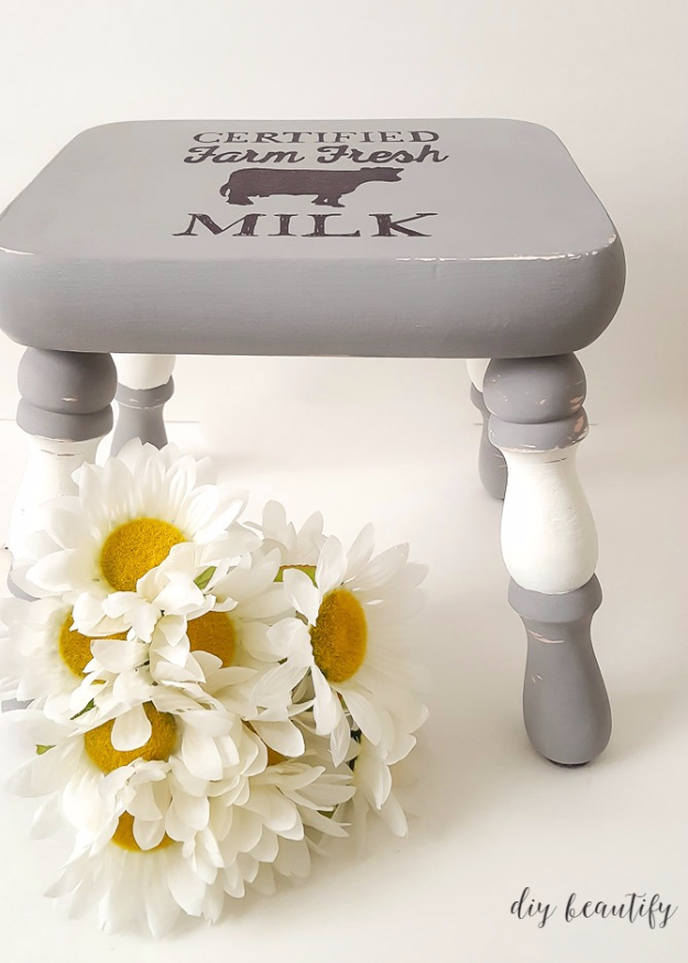 DIY Seating Ideas - farmhouse stool - Creative Indoor Furniture, Chairs and Easy Seat Projects for Living Room, Bedroom, Dorm and Kids Room. Cheap Projects for those On A Budget. Tutorials for Cushions, No Sew Covers and Benches http://diyjoy.com/diy-seating-chairs-ideas
