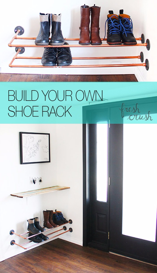 DIY Ideas for Your Entry - Floating Copper Shoe Rack - Cool and Creative Home Decor or Entryway and Hall. Modern, Rustic and Classic Decor on a Budget. Impress House Guests and Fall in Love With These DIY Furniture and Wall Art Ideas http://diyjoy.com/diy-home-decor-entry