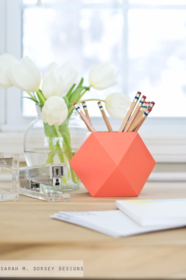 DIY Projects for Teenagers - Geometric Pencil Cups - Cool Teen Crafts Ideas for Bedroom Decor, Gifts, Clothes and Fun Room Organization. Summer and Awesome School Stuff