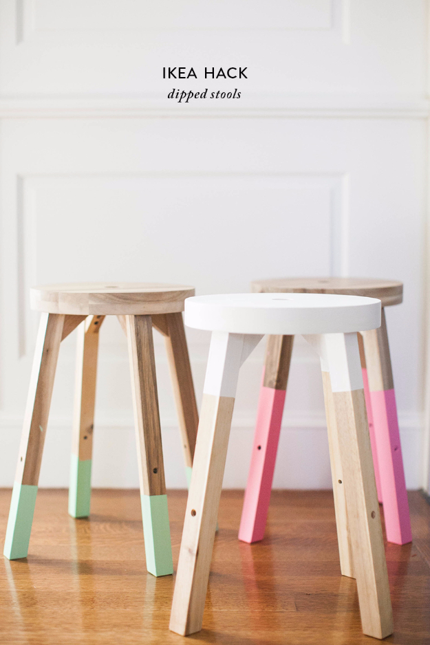 DIY Seating Ideas - Ikea Hack Dipped Stools - Creative Indoor Furniture, Chairs and Easy Seat Projects for Living Room, Bedroom, Dorm and Kids Room. Cheap Projects for those On A Budget. Tutorials for Cushions, No Sew Covers and Benches http://diyjoy.com/diy-seating-chairs-ideas