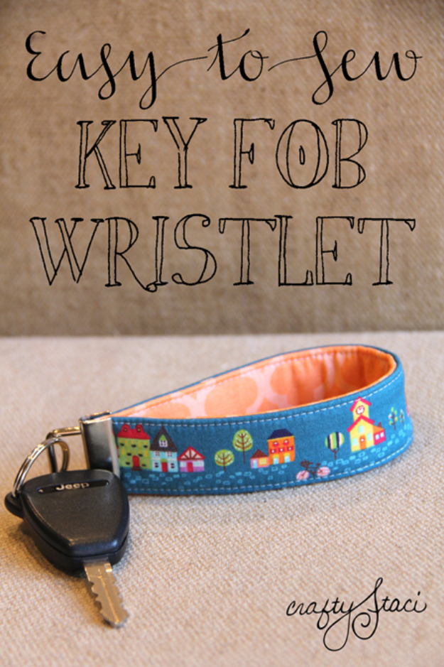 Sewing Crafts To Make and Sell - Key Fob Wristlet - Easy DIY Sewing Ideas To Make and Sell for Your Craft Business. Make Money with these Simple Gift Ideas, Free Patterns, Products from Fabric Scraps, Cute Kids Tutorials http://diyjoy.com/crafts-to-make-and-sell-sewing-ideas