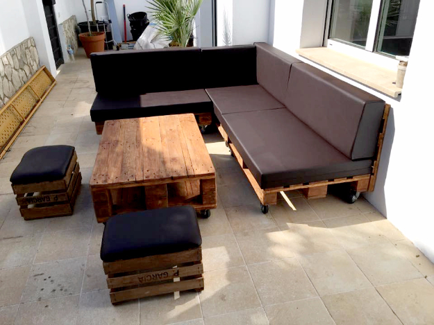 diy sofas and couches pallet sectional sofa with black cushion easy and creative furniture