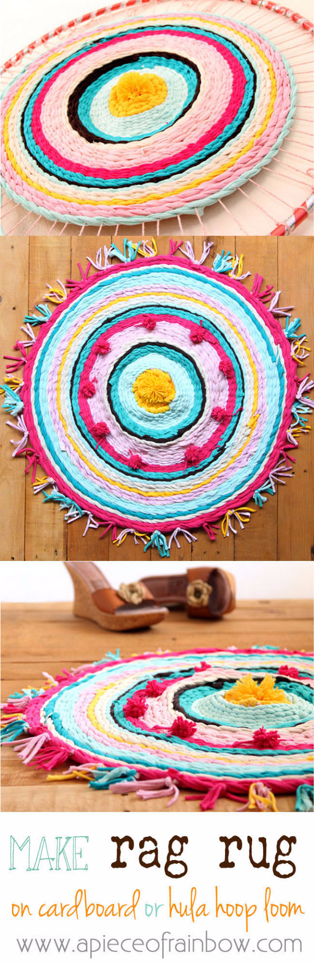 Easy DIY Rugs and Handmade Rug Making Project Ideas - Rag Rug From Old T-Shirts - Simple Home Decor for Your Floors, Fabric, Area, Painting Ideas, Rag Rugs, No Sew, Dropcloth and Braided Rug Tutorials http://diyjoy.com/diy-rugs-ideas