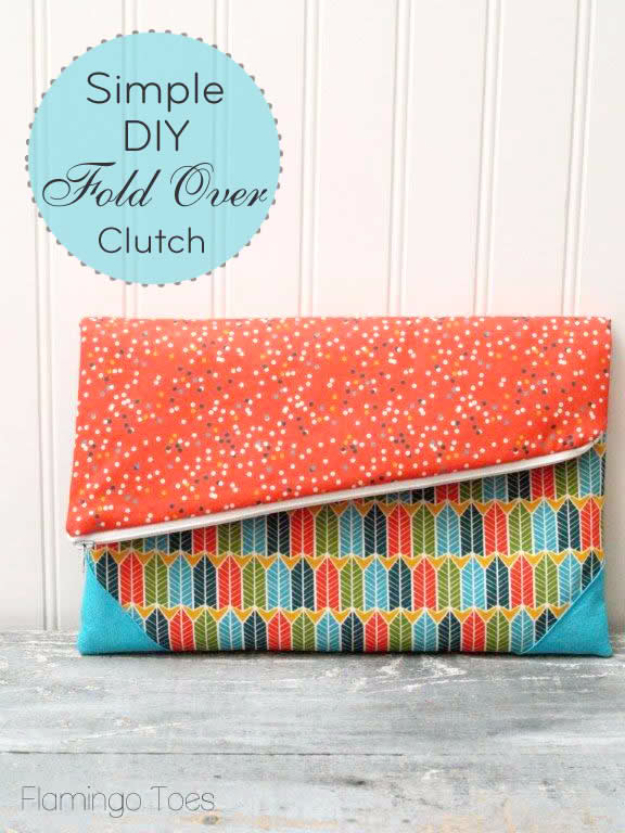 Sewing Crafts To Make and Sell - Simple DIY Fold Over Clutch - Easy DIY Sewing Ideas To Make and Sell for Your Craft Business. Make Money with these Simple Gift Ideas, Free Patterns, Products from Fabric Scraps, Cute Kids Tutorials http://diyjoy.com/crafts-to-make-and-sell-sewing-ideas