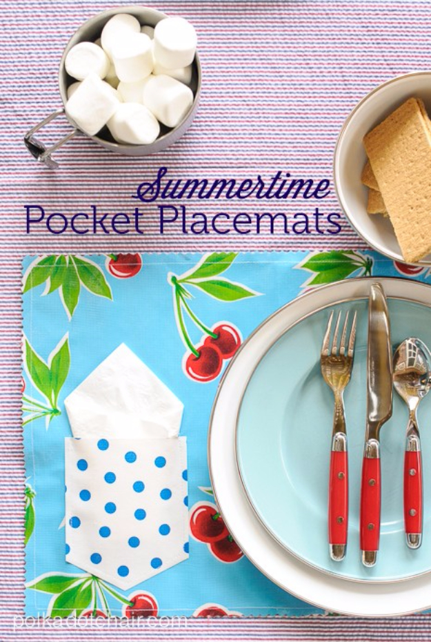 Sewing Crafts To Make and Sell - Summertime Pocket Placemats - Easy DIY Sewing Ideas To Make and Sell for Your Craft Business. Make Money with these Simple Gift Ideas, Free Patterns, Products from Fabric Scraps, Cute Kids Tutorials http://diyjoy.com/crafts-to-make-and-sell-sewing-ideas