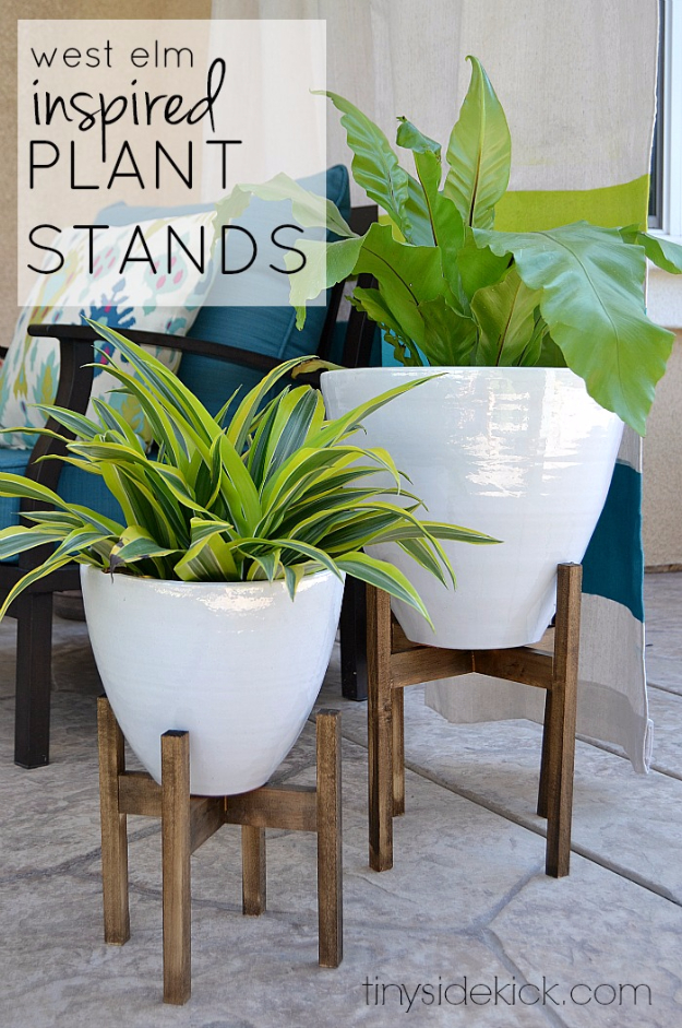 Creative DIY Planters - West Elm Inspired Wooden Plant Stands - Best Do It Yourself Planters and Crafts You Can Make For Your Plants - Indoor and Outdoor Gardening Ideas - Cool Modern and Rustic Home and Room Decor for Planting With Step by Step Tutorials http://diyjoy.com/diy-planters