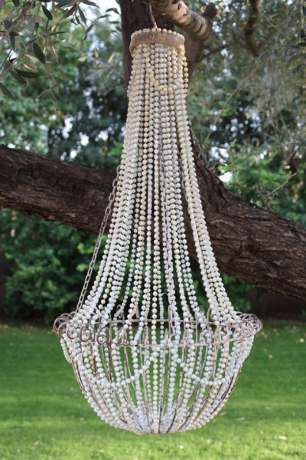 DIY Chandelier Ideas and Project Tutorials - DIY French Beaded Chandelier - Easy Makeover Tips, Rustic Pipe, Crystal, Rustic, Mason Jar, Beads. Bedroom, Outdoor and Wedding Girls Room Lighting Ideas With Step by Step Instructions http://diyjoy.com/diy-chandelier-ideas