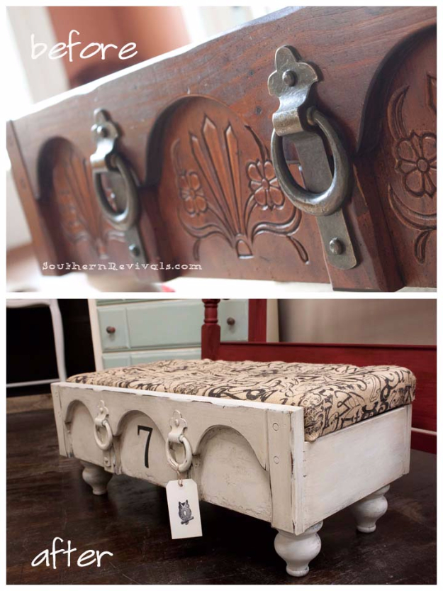 Upcycled Furniture Projects - Drawer Ottoman DIY - Repurposed Home Decor and Furniture You Can Make On a Budget. Easy Vintage and Rustic Looks for Bedroom, Bath, Kitchen and Living Room. http://diyjoy.com/upcycled-furniture-projects