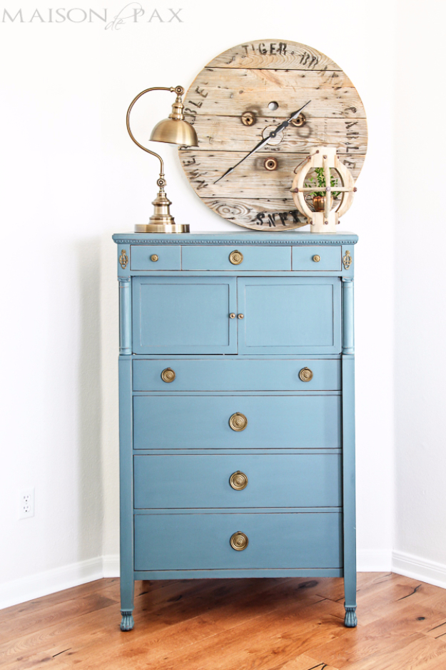 DIY Furniture Refinishing Tips - Vintage Dresser Painted Blue - Creative Ways to Redo Furniture With Paint and DIY Project Techniques - Awesome Dressers, Kitchen Cabinets, Tables and Beds - Rustic and Distressed Looks Made Easy With Step by Step Tutorials - How To Make Creative Home Decor On A Budget http://diyjoy.com/furniture-refinishing-tips