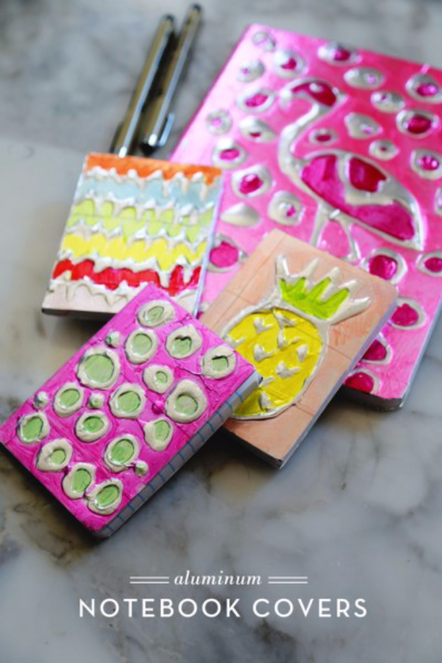 Dollar Store Crafts - Aluminium Notebook Covers - Best Cheap DIY Dollar Store Craft Ideas for Kids, Teen, Adults, Gifts and For Home #dollarstore #crafts #cheapcrafts #diy