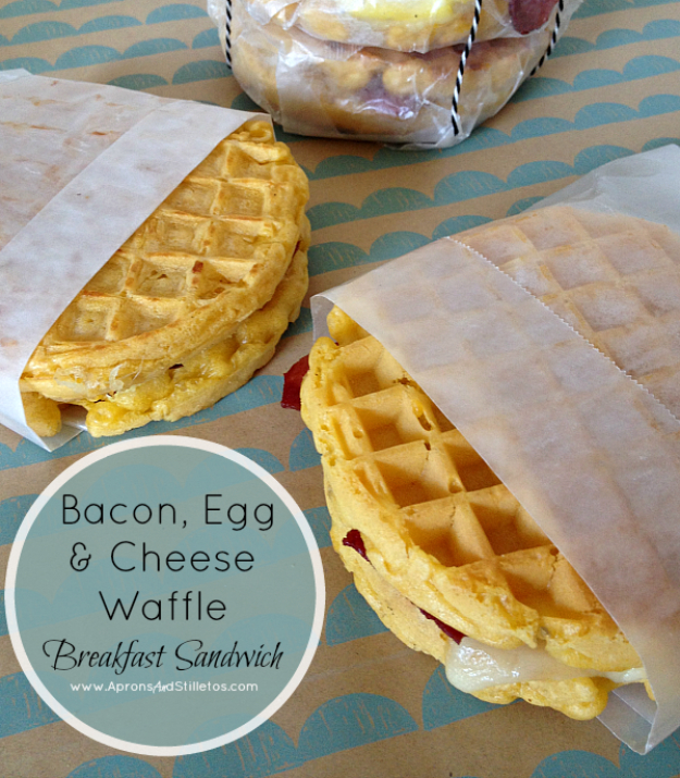 33 Easy Recipes for Back To School -Breakfast On The Go Waffle Sandwiches -Quick and Delicious Recipe Ideas for Kids and Adults. Pack for School Lunches, Make Ahead for Work, Freeze and Store for Early Morning Breakfasts, Super Lunch Meals, Simple Snacks and Dinner