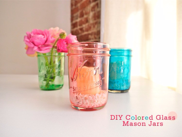 Dollar Store Crafts - COLORED GLASS MASON JARS - Best Cheap DIY Dollar Store Craft Ideas for Kids, Teen, Adults, Gifts and For Home #dollarstore #crafts #cheapcrafts #diy