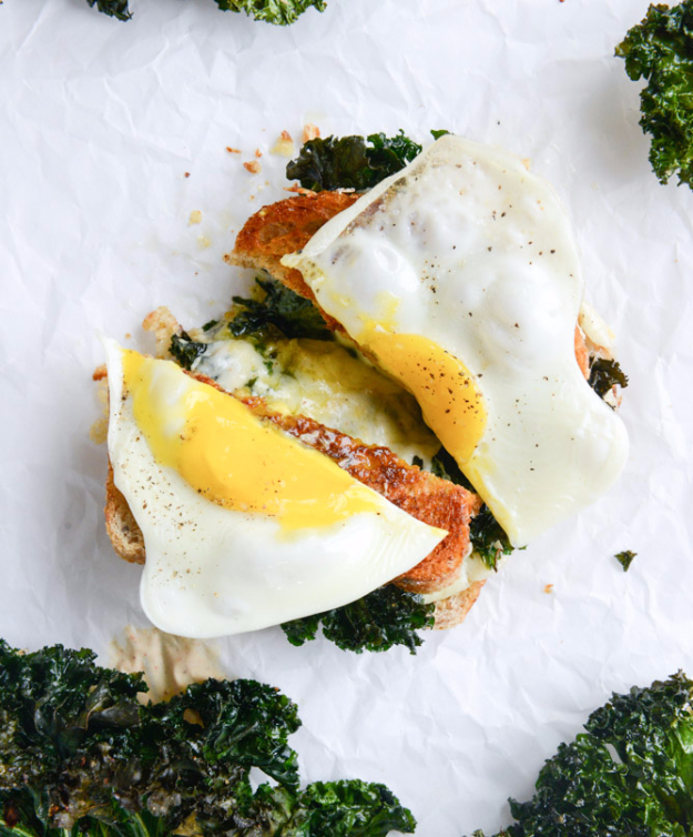 35 Fall Recipes - Crispy Kale Grilled Cheese With Fried Eggs - Best Quick And Easy Fall Recipe Ideas and Healthy Dishes You Can Make For Dinner, Soup, Appetizers, Crockpot and Slow Cooker Snacks and Drinks, Even Dessert http://diyjoy.com/best-fall-recipes