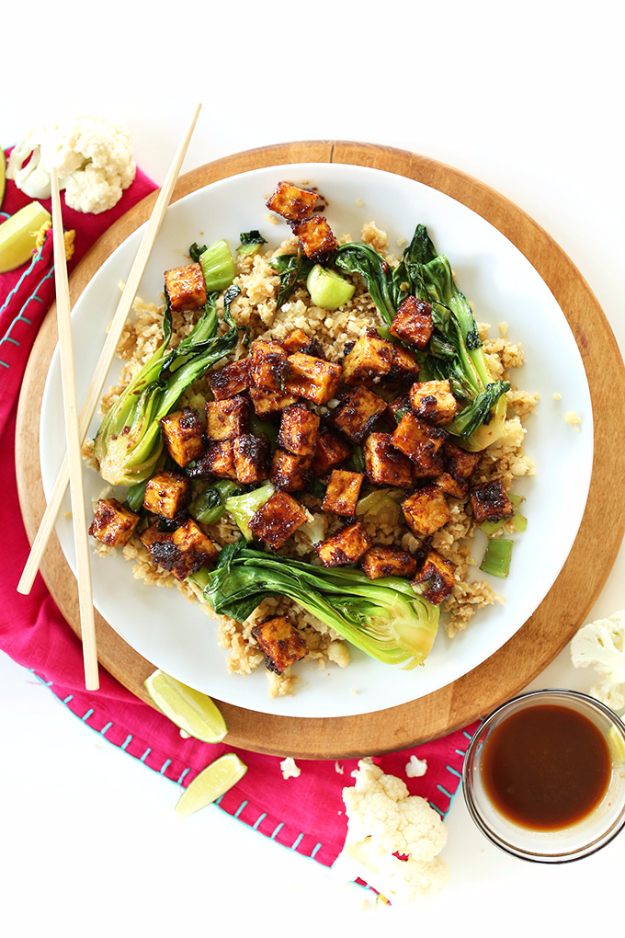 35 Fall Recipes - Crispy Peanut Tofu And Cauliflower Rice Stir Fry - Best Quick And Easy Fall Recipe Ideas and Healthy Dishes You Can Make For Dinner, Soup, Appetizers, Crockpot and Slow Cooker Snacks and Drinks, Even Dessert http://diyjoy.com/best-fall-recipes