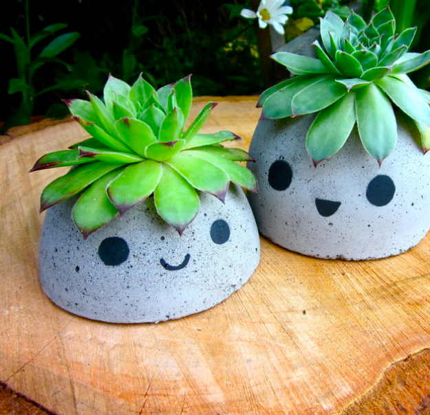 Dollar Store Crafts - Cute Concrete Planter - Best Cheap DIY Dollar Store Craft Ideas for Kids, Teen, Adults, Gifts and For Home #dollarstore #crafts #cheapcrafts #diy